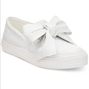 Nine West White Leather Bow Sneakers